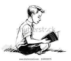 boy reading book stock ilration 610659575