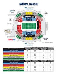 New England Patriots Seating Chart 64 Unmistakable Gillete Stadium Seating Chart