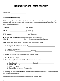business purchase letter of intent