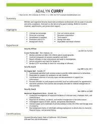 Resume Templates Securityguard Security Unique Guard Objective