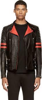 sel black gold black red leather studded likol biker jacket