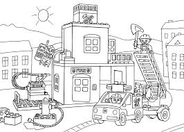 Lego Fire Station Coloring Page For Kids Printable Free Lego Duplo