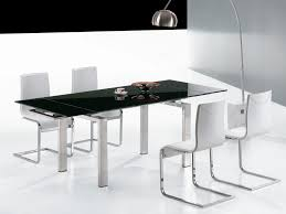 black and chrome furniture. Modern Extendable Glass Dining Tables For Contemporary Room Decoration : Cool Solid Black Top And Chrome Furniture