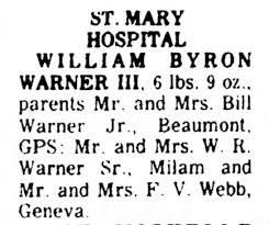 Apr 23, 1976 The Port Arthur News, William Byron Warner III born. -  Newspapers.com