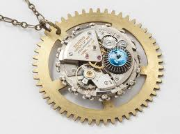 antique clockwork necklace brass clock gear pendant with silver watch movement and blue topaz crystal mens steampunk jewelry
