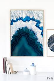 modern blue agate art on white wall on blue and white wall art with gorgeous free blue agate wall art print fox hazel