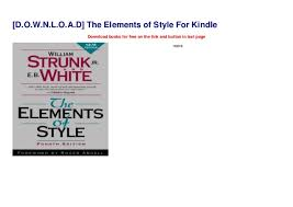 D O W N L O A D The Elements Of Style For Kindle