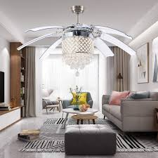 Modern Crystal Ceiling Fan With 8 Foldable Blades