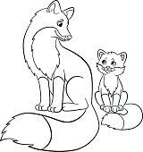 Small Picture Coloring Pages Wild Animals Mother Fox With Her Baby stock vector