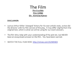 the crucible higher english key facts full title the crucible  23 the film the crucible