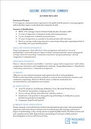 Executive Summary Resume Example Executive Level Resume Samples And Examples At Resumestime