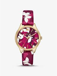 michael kors mini lexington gold tone and erfly pink camo leather watch
