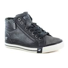 mustang 1146 516 259 womens faux leather hi top fashion trainers graphite grey