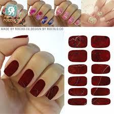K5743/200 Nail Art Designs Sexy Red Marble Stone Nail Wraps ...