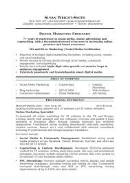 Social Media Resume Examples Marketing Professional Summary Resume Sample For A Communications