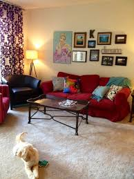 terrific living room red couch
