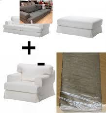 ikea hovÅs hovas sofa armchair chair footstool slipcover cover combo hjulsbro gray grey