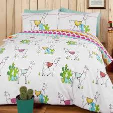 details about llama and cactus theme reversible orange pink white blue single duvet set