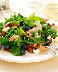 fresh garden salad with chicken. Unique Fresh Grilled Chicken Salad With Fresh Blueberries Pecans And HoneyPoppy  Vinaigrette On Garden With R