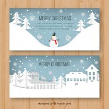 Christmas Scenes Free Downloads Christmas Banners With Winter Scenes Vector Free Download
