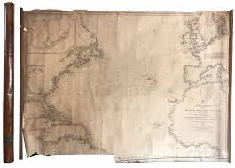 Large Cloth Backed Paper Nautical Chart Dated 1862 With Handmade Copper Case