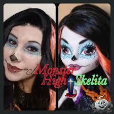 skelita calaveras monster high doll makeup tutorial maquillaje colaboracion