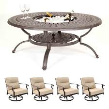 kensington firepit grill 120cm round lounge table with 4 swivel rockers