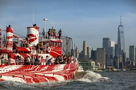 for flow separation a new public artwork in new york artist tauba auerbach repainted an historic fireboat with a diagram based on wwi dazzle ships and
