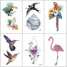 Wyuen Pták Květina Falešné Tetování Pro Dospělé Původní Flamingo