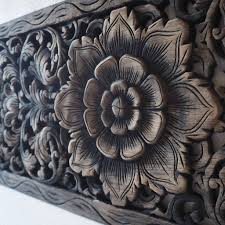 lotus wood carving wall art