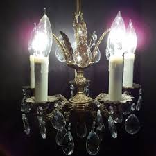 one petite brass crystal chandelier 5 arm five light ornate vint
