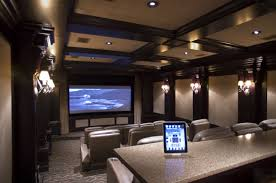 Interior:Elegant Theater Room Design With White Wall Lamp And Comfy Cream  Leather Seat Ideas