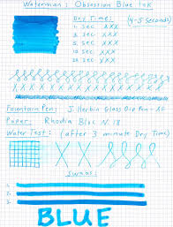 Waterman Blue Obsession Ink Review Pen Chalet