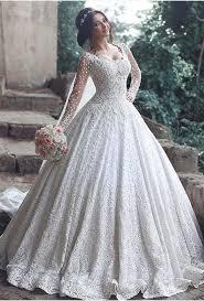 beautiful long sleeve lace 2018 wedding dress ball gown floor