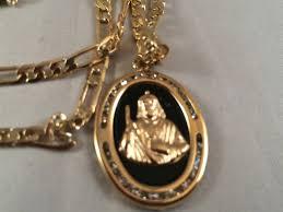 san judas cadena oro rosario sinaloense medalla k religioso saint jude gold rosary necklace bl