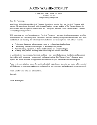 Neoteric Ideas Physical Therapy Cover Letter 6 Therapist Sample