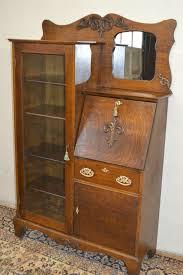 larkin antique 1900 s drop front tiger oak secretary desk side by side bookcase