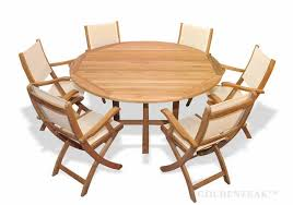 teak outdoor dining set for 6 round teak table teak and sling folding chairs