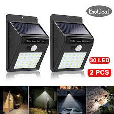 esogoal 30 led solar lights outdoor waterproof solar powered motion sensor light wireless security lights outside