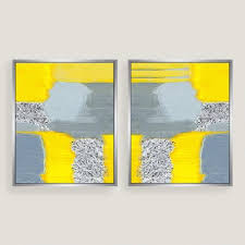 yellow and blue canvas wall art