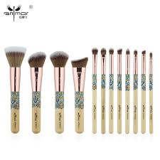 anmor new make up brushes bamboo professional makeup brush set soft synthetic cosmetics brush kit best makeup foundation brush set from jiami