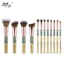 anmor new make up brushes bamboo professional makeup brush set soft synthetic cosmetics brush kit best makeup foundation brush set from jiami