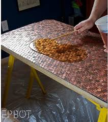 penny topped table (also talks about floors done with pennies) Interesting.penny  topped table (also talks about floors done with pennies) Interesting.penny  ...