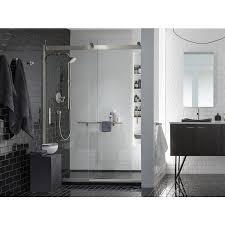 kohler levity 56 625 in to 59 625 in w frameless brushed nickel bypass sliding shower door