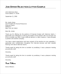 Sample Letter Of Declining A Job Offer Sample Job Rejection Letter 8 Examples In Word Pdf