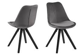 2x Esszimmerstuhl Dry Stuhl Set Stühle Polsterstuhl Küchenstuhl Grau Schwarz Dynamic 24de