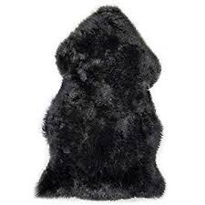 black sheepskin rug. Lambland Hand Finished Premium British Sheepskin Rug In Black - Size Single