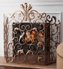 french tuscan ornate acanthus leaf old world antique gold iron fireplace screen na frenchcountrytuscan
