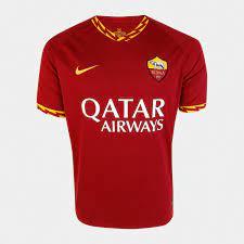 Camisa Roma Home 19/20 s/nº Torcedor Nike Masculina - Vermelho+Dourado