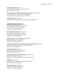 charles evans music violin resume